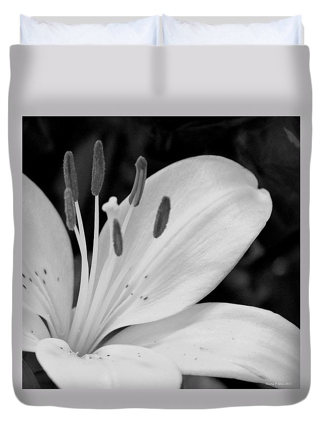 Lily Bw Duvet Cover featuring the photograph Lily Bw by Maria Urso