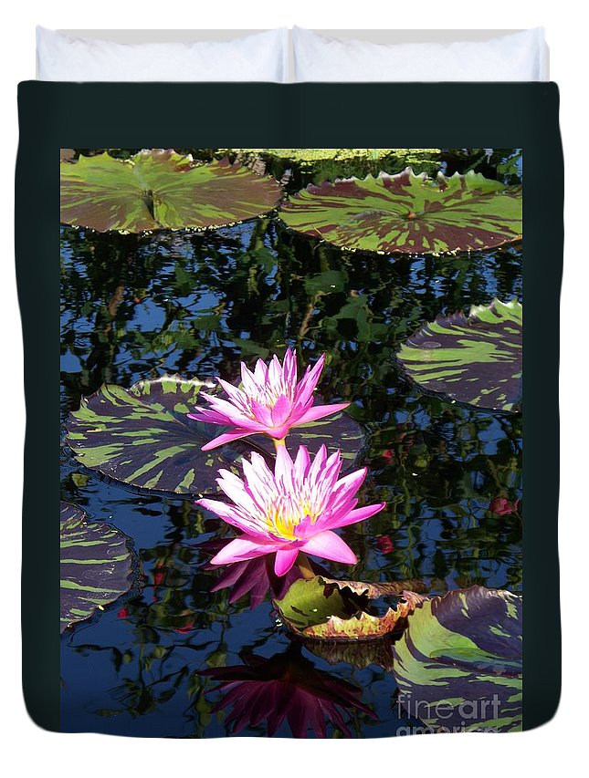 Lily Duvet Cover featuring the painting Lily Monet by Eric Schiabor