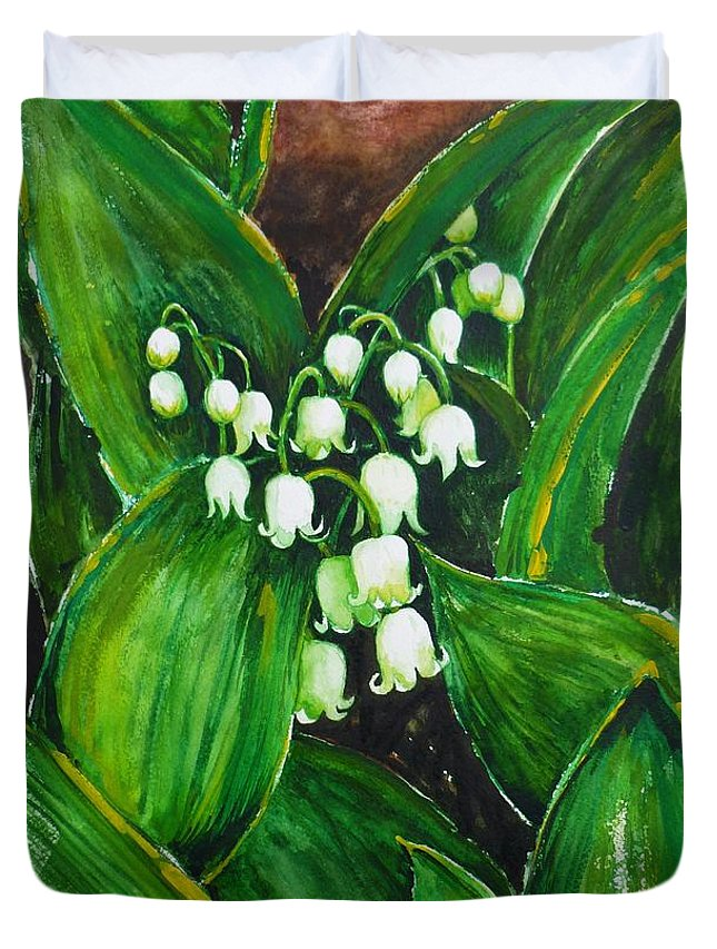 Lily Of The Valley Duvet Cover featuring the painting Lily Of The Valley by Zaira Dzhaubaeva
