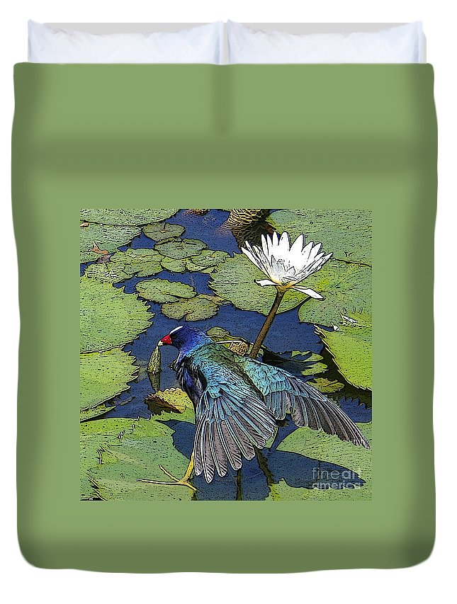 #lily #exoticbird #puntacana #dominicanrepublic #nature Duvet Cover featuring the digital art Lily Pad With Bird by Jacquelinemari
