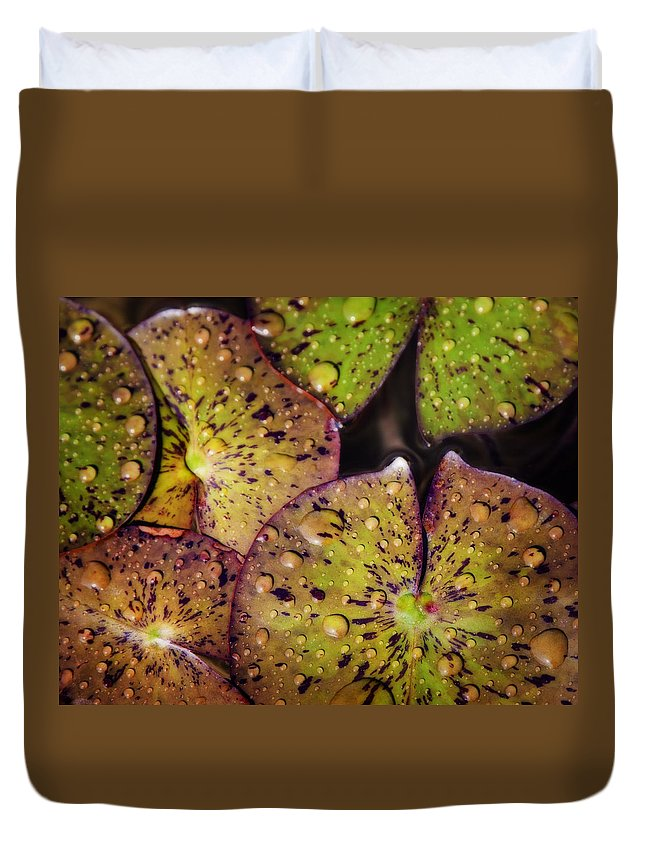 Floral Duvet Cover featuring the photograph Lily Pads by David and Carol Kelly