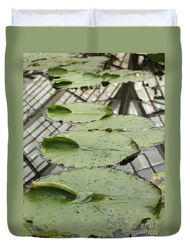Lily Pads Duvet Cover featuring the photograph Lily Pads With Reflection Of Conservatory Roof by Carol Groenen
