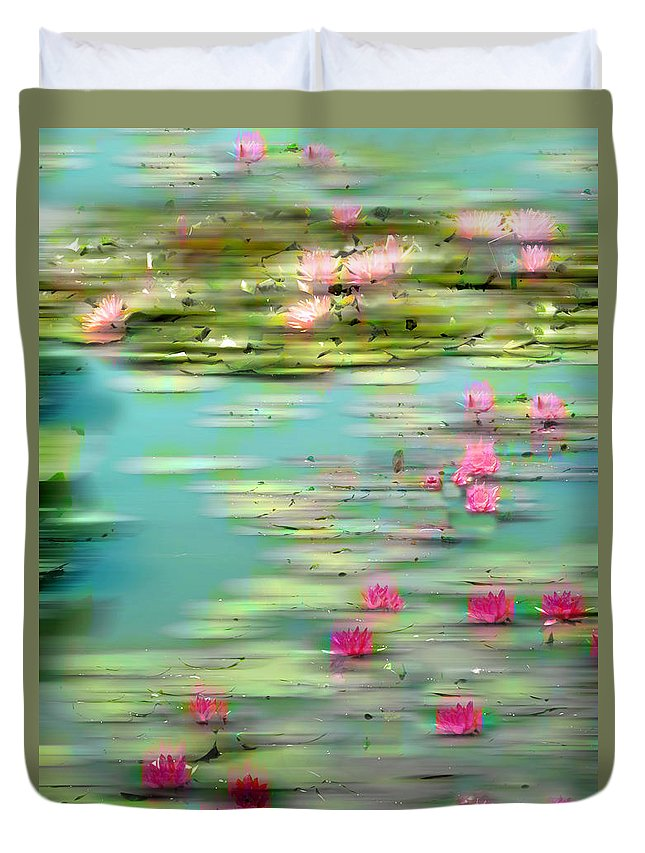 Lily Pond Duvet Cover featuring the photograph Lily Pond Impressions by Jessica Jenney