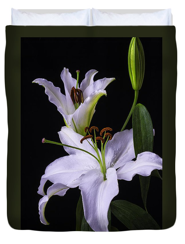White Tiger Lily Duvet Cover featuring the photograph Lily's In Bloom by Garry Gay