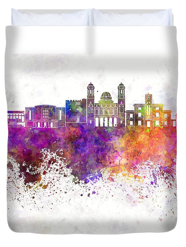 Limassol Skyline Duvet Cover featuring the painting Limassol Skyline In Watercolor Background by Pablo Romero