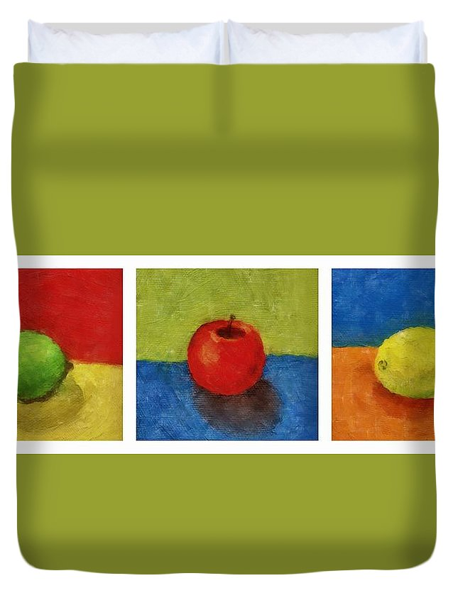 Lime Duvet Cover featuring the painting Lime Apple Lemon by Michelle Calkins