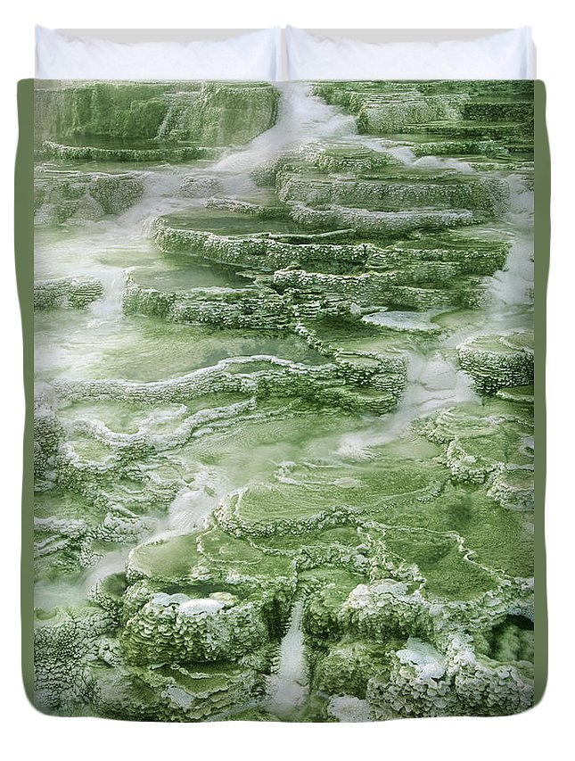 North America Duvet Cover featuring the photograph Limestone Detail Minerva Springs Yellowstone National Park by Dave Welling