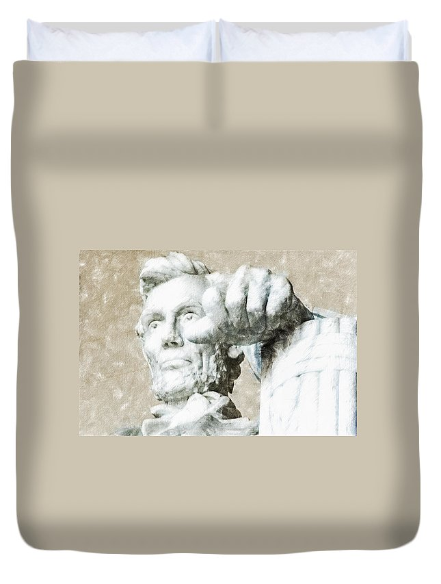 Abraham Lincoln Duvet Cover featuring the digital art Lincoln - 3463 Light Color Pencils Hp by David Lange
