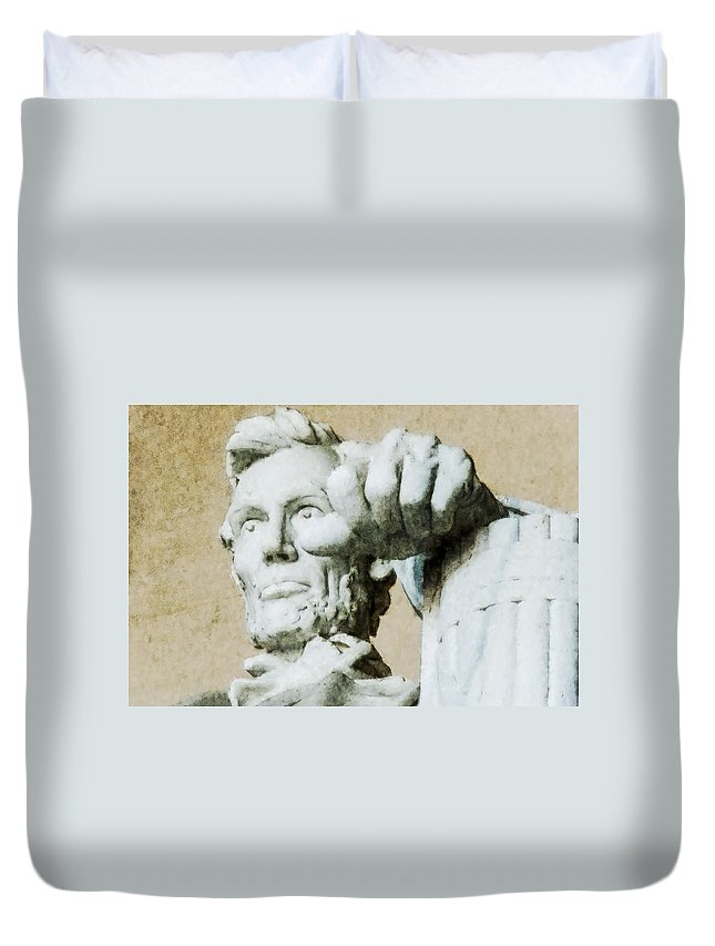 Abraham Lincoln Duvet Cover featuring the digital art Lincoln - 3463 Watercolor 1 by David Lange