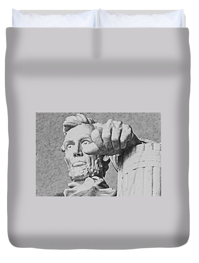 Abraham Lincoln Duvet Cover featuring the digital art Lincoln - 3463charcoal 2 Hp by David Lange