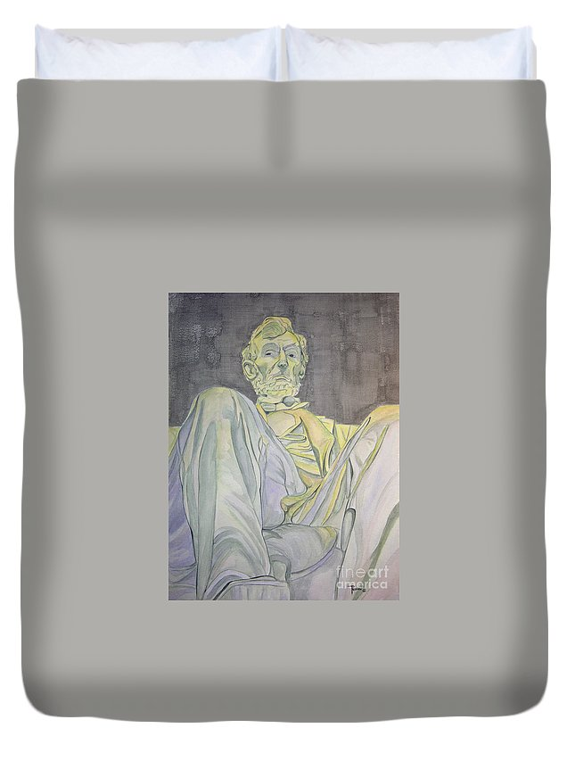 Presidents Duvet Cover featuring the painting Lincoln by Regan J Smith