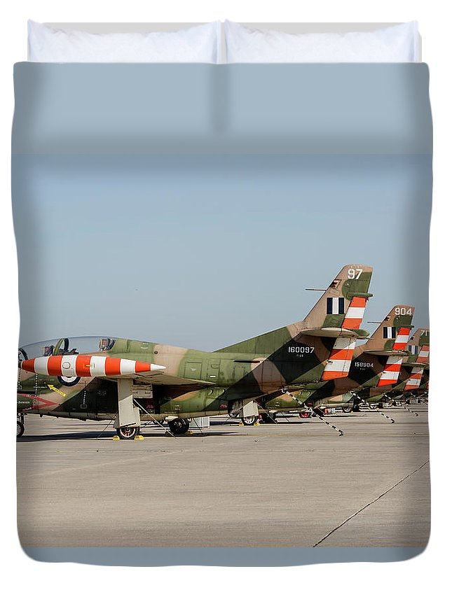 Greece Duvet Cover featuring the photograph Line-up Of Hellenic Air Force T-2 by Timm Ziegenthaler