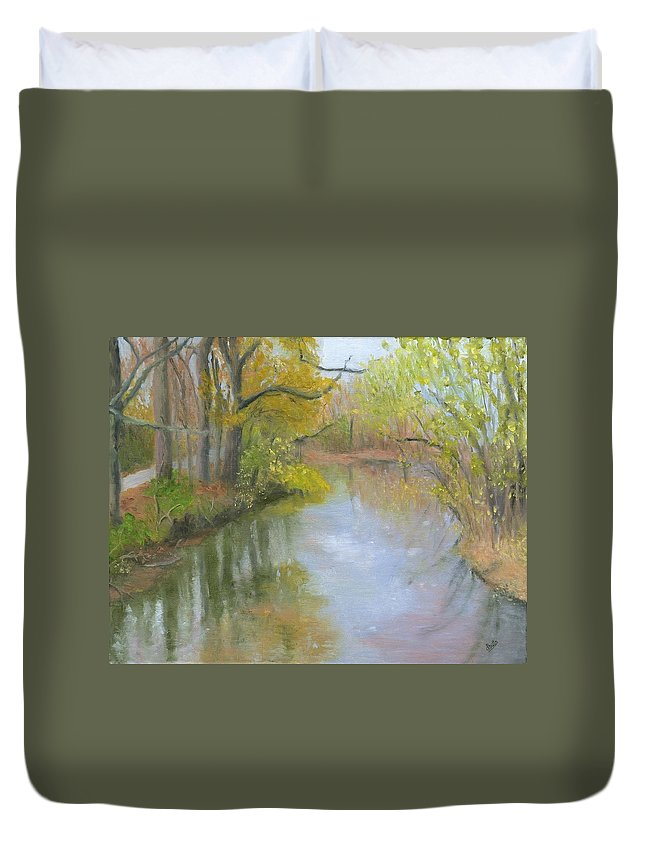 Linganore Duvet Cover featuring the painting Linganore Creek by Deborah Butts