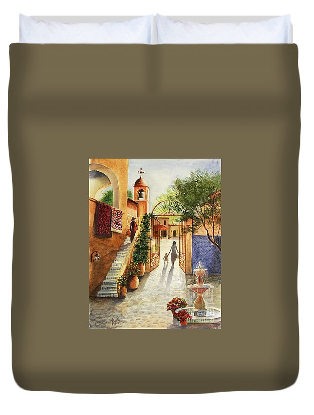 Tlaquepaque Duvet Cover featuring the painting Lingering Spirit-sedona by Marilyn Smith