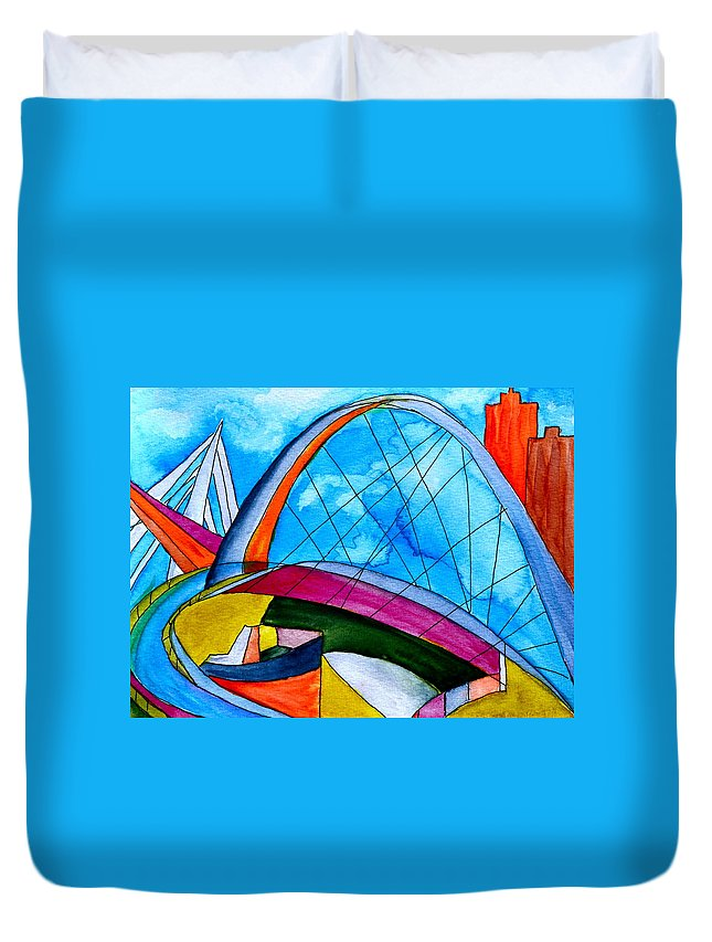 Bridge Duvet Cover featuring the painting Linking by Beverley Harper Tinsley