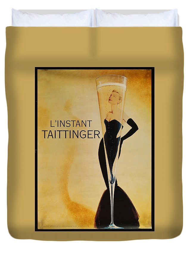 L'instant Taittanger Duvet Cover featuring the digital art L'Instant Taittinger by Georgia Fowler