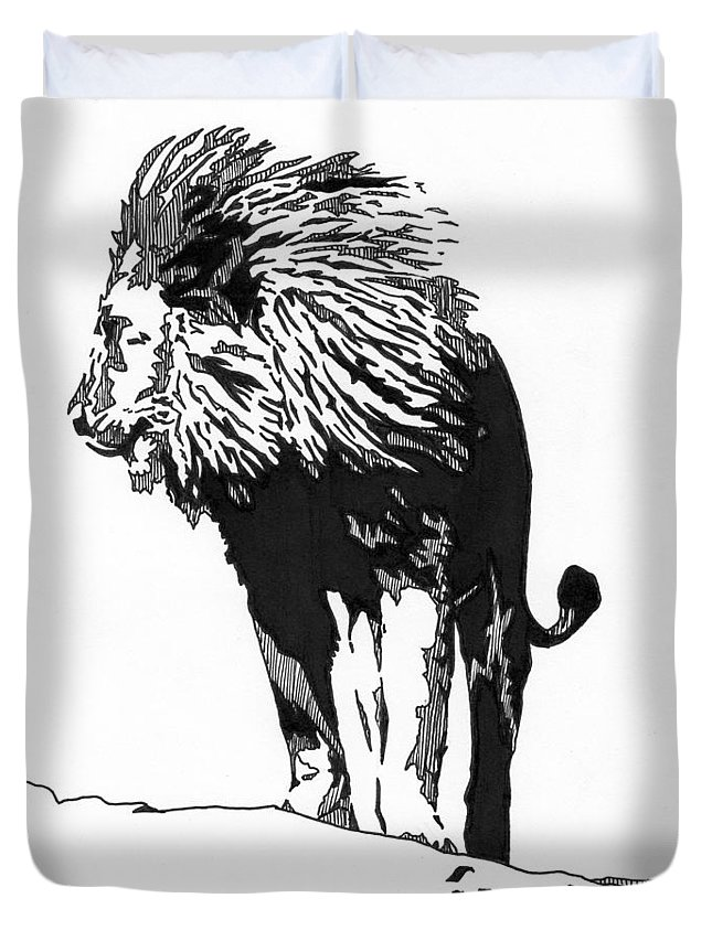 Lion Duvet Cover featuring the drawing Lion 5x7 Card by Matthew Howard