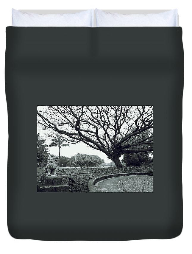 lion Dog Duvet Cover featuring the photograph Lion Dog And Tree - Liliuokalani Park - Hawaii by Daniel Hagerman