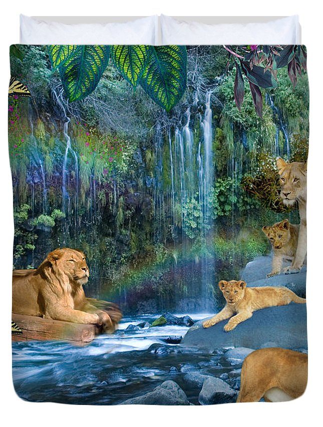 Rainbow Duvet Cover featuring the digital art Lion Falls by Alixandra Mullins