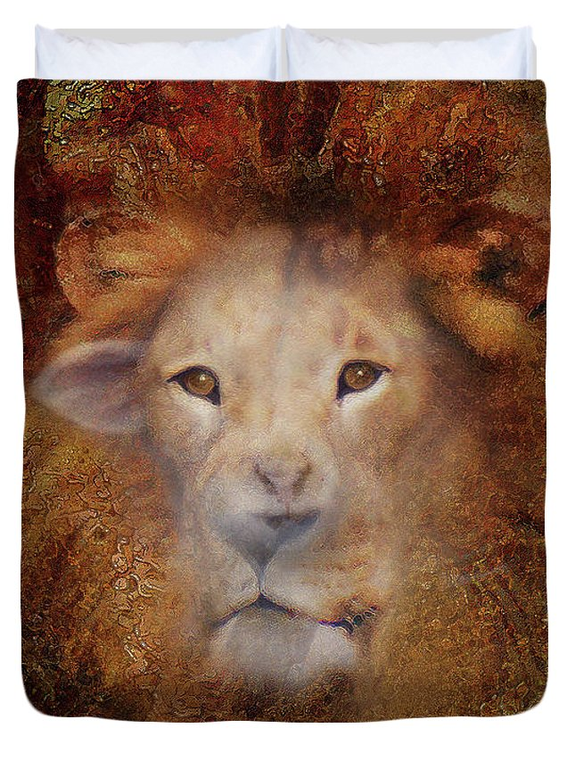 Lion Duvet Cover featuring the digital art Lion Lamb Face by Constance Woods