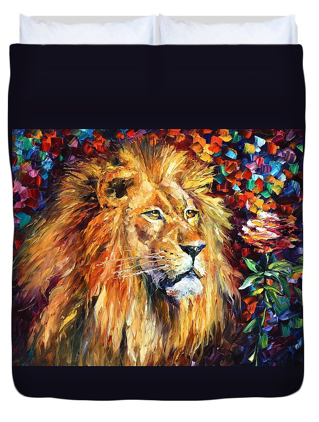 Afremov Duvet Cover featuring the painting Lion by Leonid Afremov