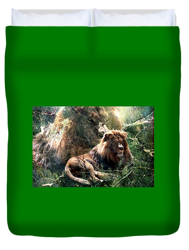 Lion Duvet Cover featuring the digital art Lion Spirit by Lisa Yount