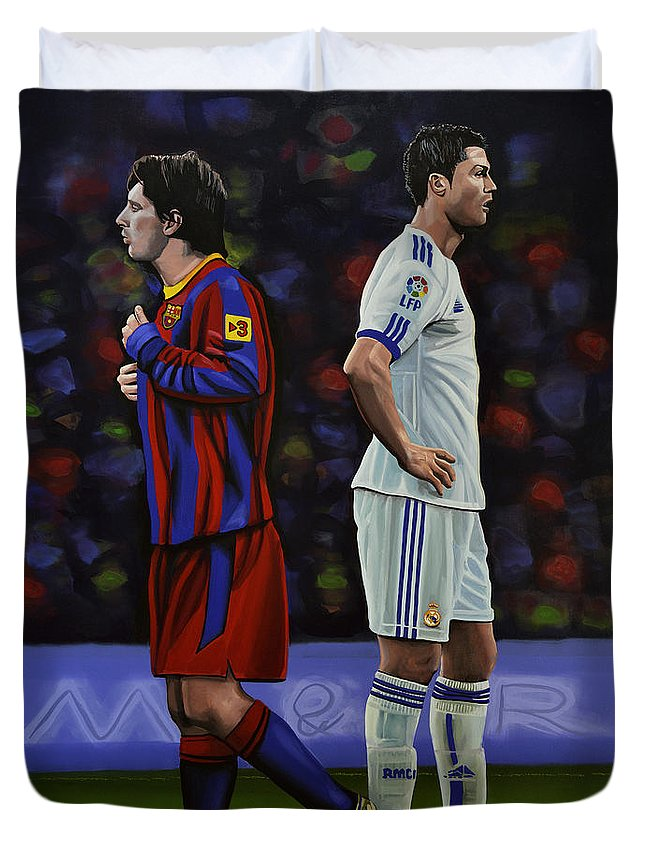 Lionel Messi Duvet Cover featuring the painting Lionel Messi and Cristiano Ronaldo by Paul Meijering