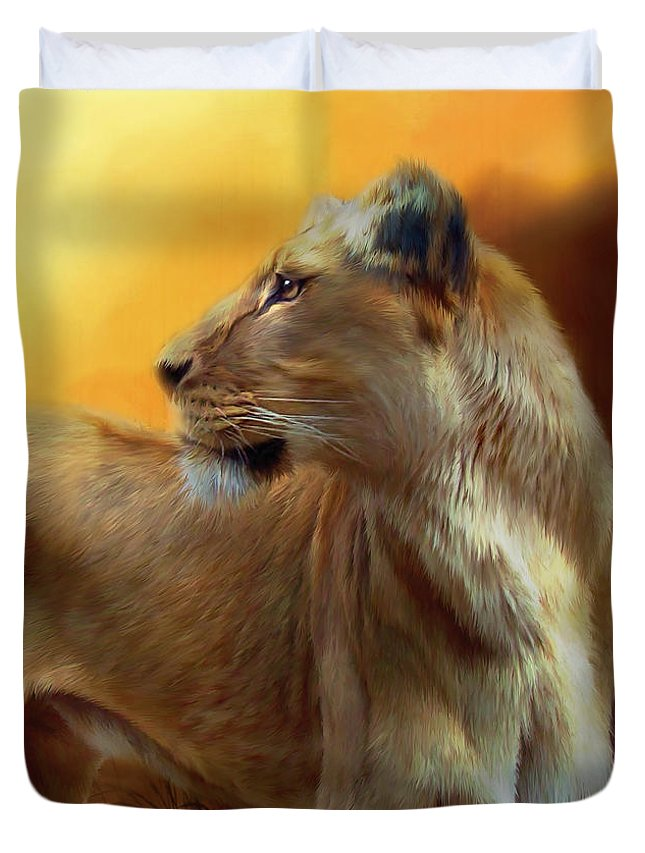 Lion Duvet Cover featuring the mixed media Lioness Is Near by Carol Cavalaris