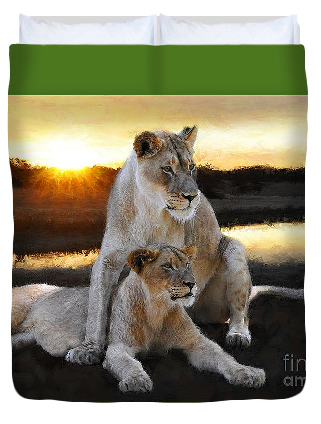 Lioness Duvet Cover featuring the painting Lioness Protector by Constance Woods