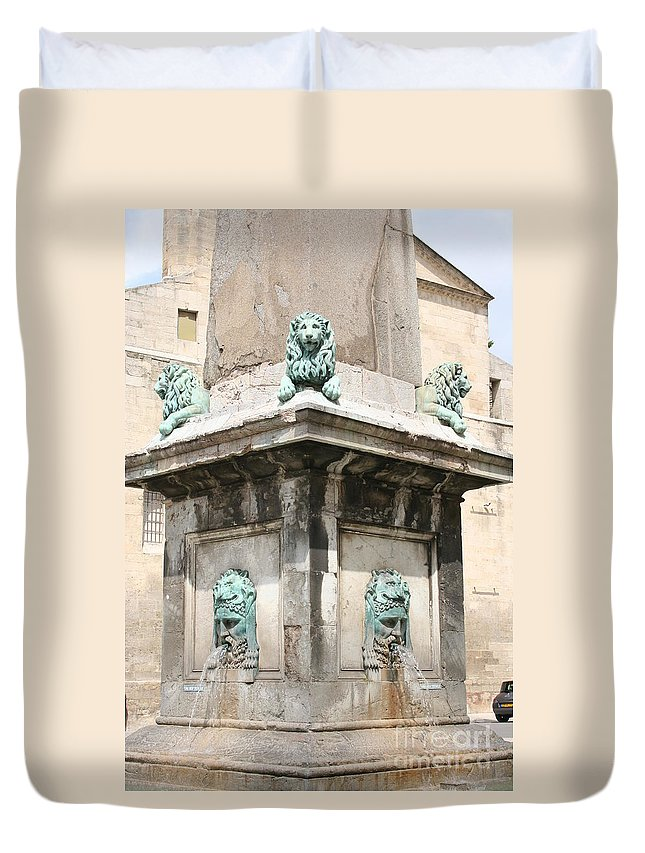 Lion Duvet Cover featuring the photograph Lionfountain - Part Of The Obelisk - Arles by Christiane Schulze Art And Photography