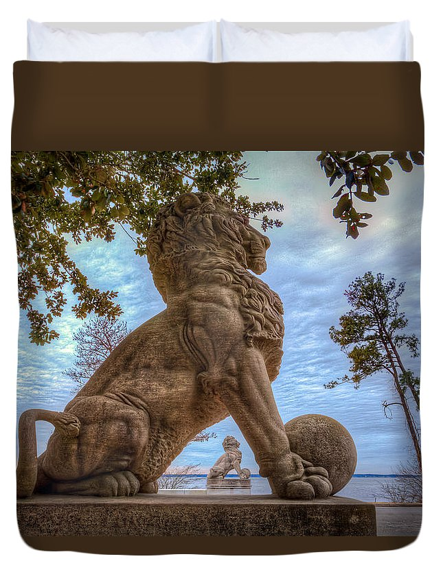 Double Lions Duvet Cover featuring the photograph Lions Bridge West Lakeside by Jerry Gammon