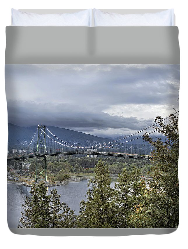 Lions Gate Duvet Cover featuring the photograph Lions Gate Bridge From Stanley Park by Jit Lim
