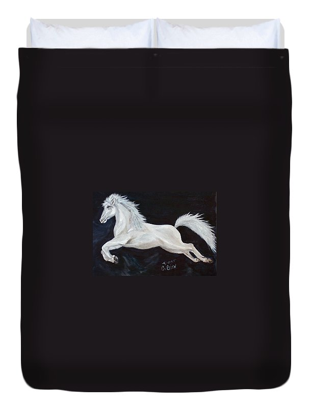 Horse Duvet Cover featuring the painting Lipizzaner Capriole by Caroline Owen-Doar
