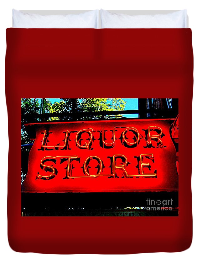Neon Signs Duvet Cover featuring the photograph Liqour Store by Ed Weidman