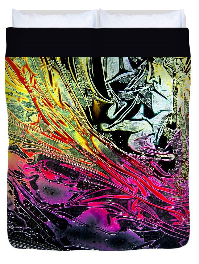 Surrealism Duvet Cover featuring the digital art Liquid Decalcomaniac Desires 1 by Otto Rapp