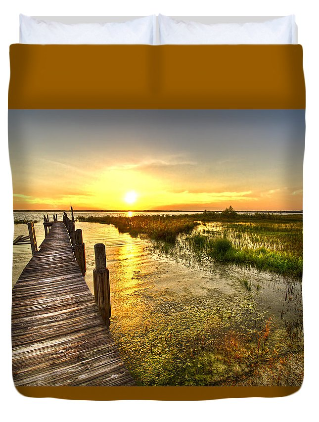 Clouds Duvet Cover featuring the photograph Liquid Gold by Debra and Dave Vanderlaan