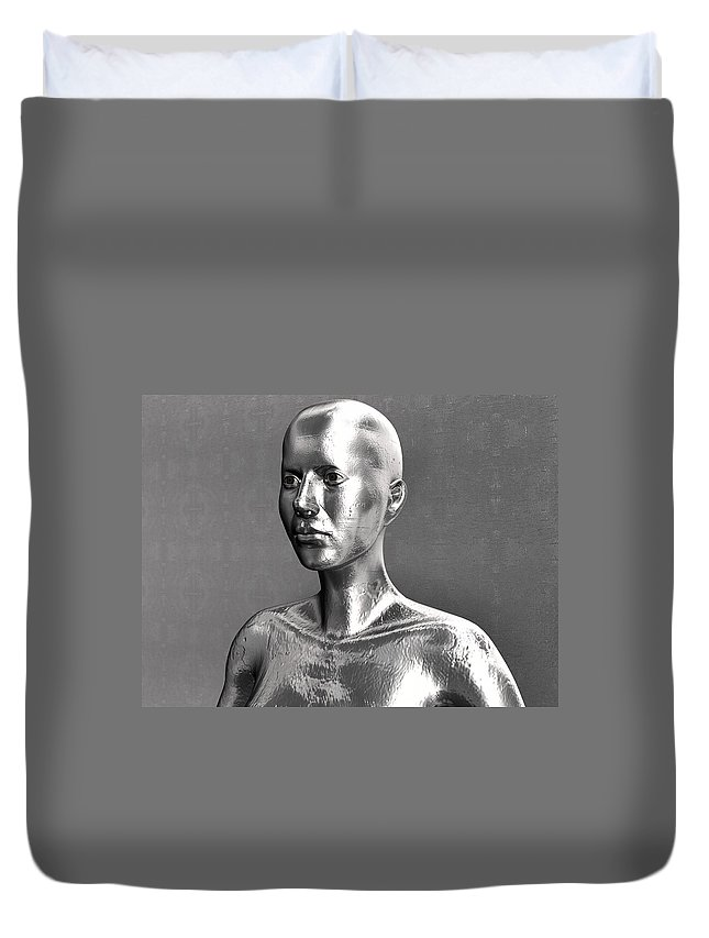 Metal Duvet Cover featuring the digital art Liquid Metal Android In Front Of The Wall by Nenad Cerovic