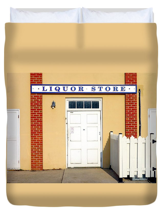 Liquor Store Duvet Cover featuring the photograph Liquor Store by Valentino Visentini