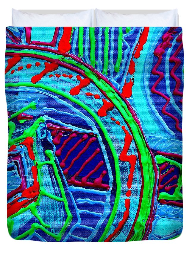 Abstract Duvet Cover featuring the painting Listen You Can Hear by John Nolan