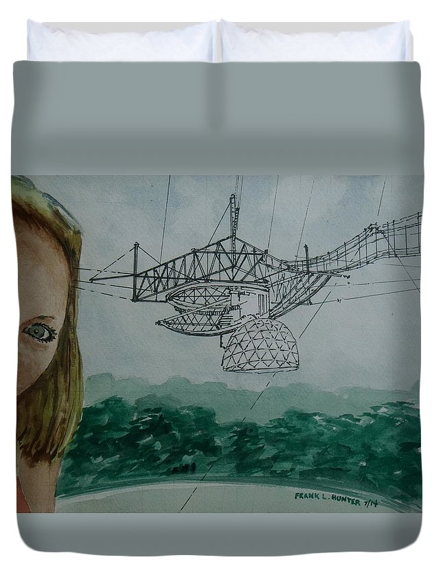 Arecibo Observatory Puerto Rico Listening Duvet Cover featuring the painting Amber Listening For Aliens At Arecibo by Frank Hunter