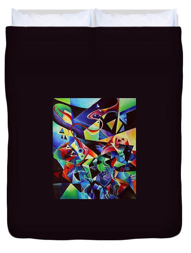 Arnold Schoenberg Piano Concert No.1 Acrylic Abstract Pens Music Duvet Cover featuring the painting listening to piano concert op.42 of Arnold Schoenberg by Wolfgang Schweizer