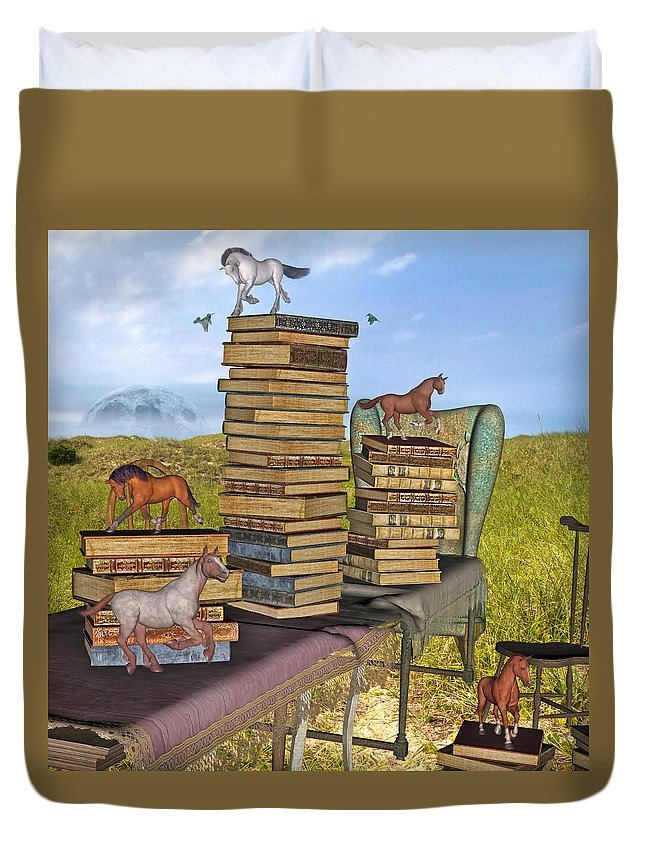 Library Duvet Cover featuring the mixed media Literary Levels by Betsy Knapp