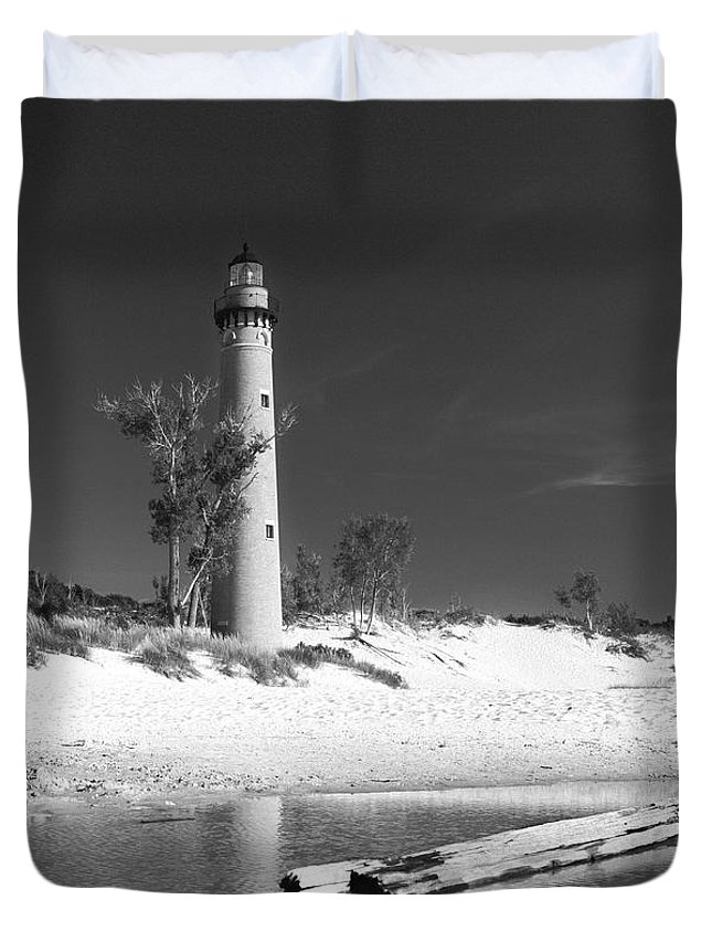Lighthouse Duvet Cover featuring the photograph Litle Sable Light Station - Film Scan by Larry Carr