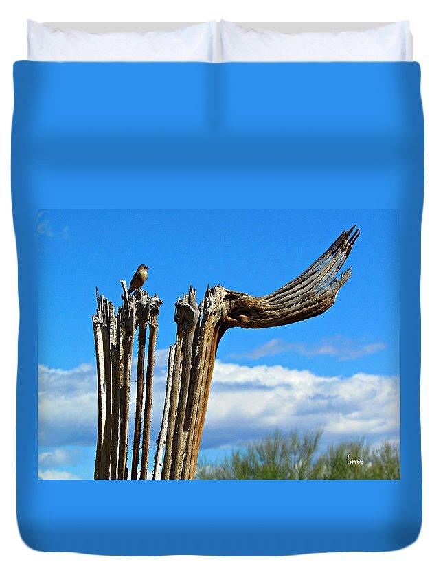 Saguaro Duvet Cover featuring the photograph Little Bird On Tall Dead Saguaro by Barbara Zahno