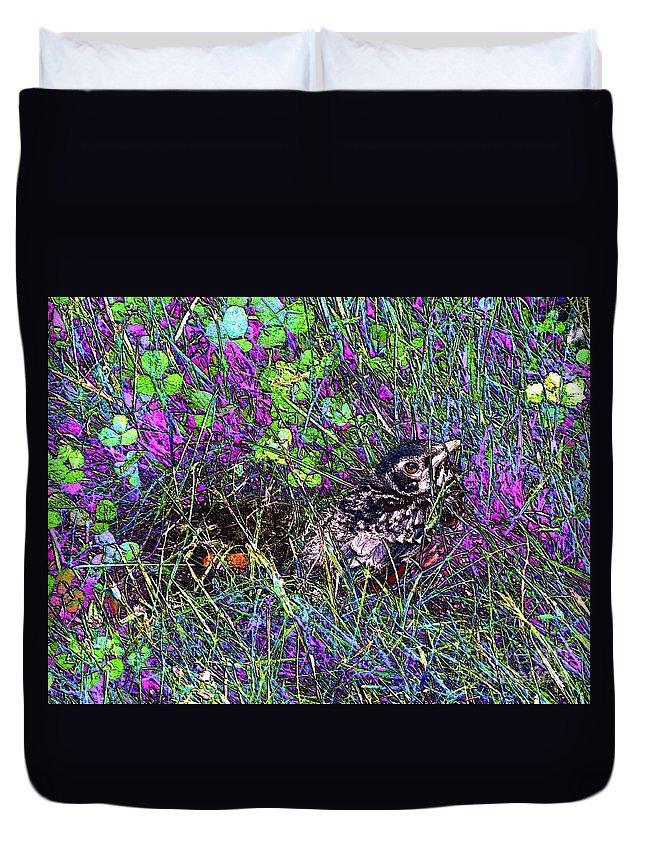 Little Duvet Cover featuring the photograph Little Bird's First Flight -digital Art by Robyn King