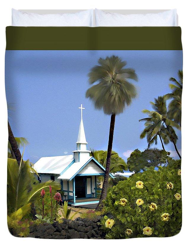Hawaii Duvet Cover featuring the photograph Little Blue Church Kona by Kurt Van Wagner