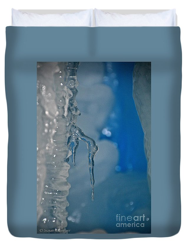Ice Duvet Cover featuring the photograph Little Blue Icicle by Susan Herber