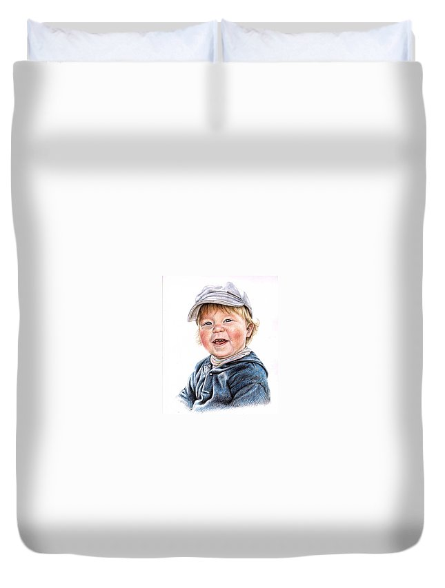 Boy Duvet Cover featuring the drawing Little Boy by Nicole Zeug