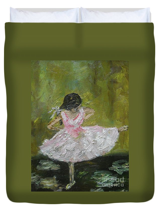 Girl Duvet Cover featuring the painting Little Dansarina by Reina Resto