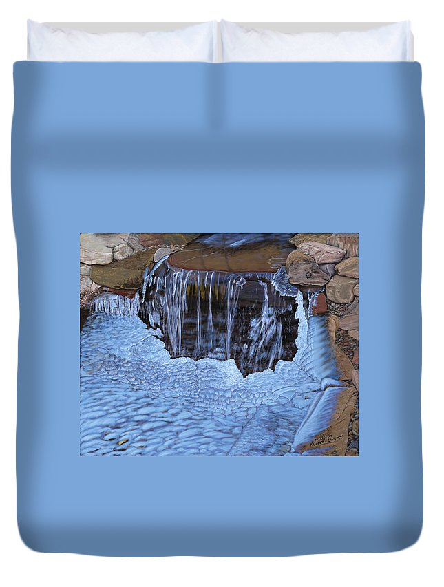 Water Duvet Cover featuring the painting Little Frozen Waterfall by Michelle Moroz-Chymy